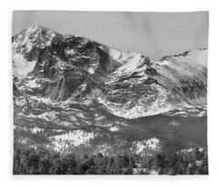 Ypsilon Mountain And Fairchild Mountain Panorama Rmnp Bw Fleece Blanket