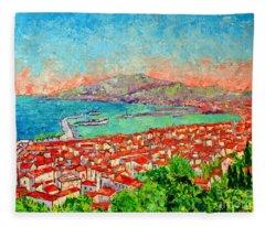 Zakynthos Sunset Light View From Bohali Hill Fleece Blanket