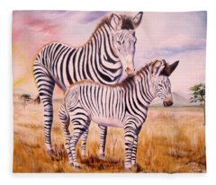 Zebra And Foal Fleece Blanket