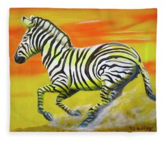 Zebra Kicking Up Dust Fleece Blanket
