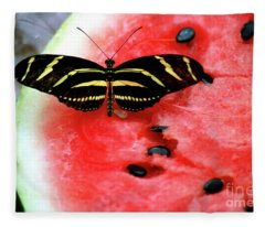 Zebra Longwing Butterfly On Watermelon Slice Fleece Blanket
