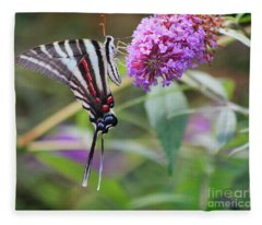 Zebra Swallowtail Butterfly On Butterfly Bush  Fleece Blanket