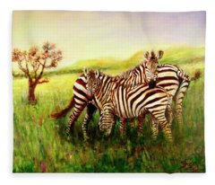 Zebras At Ngorongoro Crater Fleece Blanket