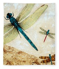 Zen Flight - Dragonfly Art By Sharon Cummings Fleece Blanket