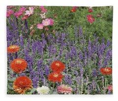 Zinnia Salvia And Cosmos Flowers Fleece Blanket