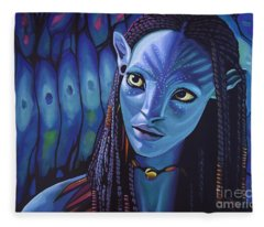Zoe Saldana As Neytiri In Avatar Fleece Blanket