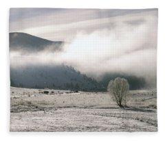 Frozen Fog On Eagle Nest Lake Fleece Blanket