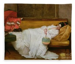 Girl In A White Dress Resting On A Sofa Fleece Blanket