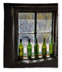Green Bottles In Window Fleece Blanket