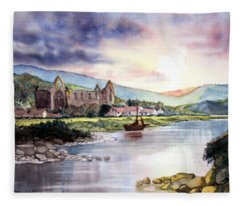 Late Evening At Tintern Abbey Fleece Blanket