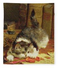 Stalking Cat Fleece Blanket
