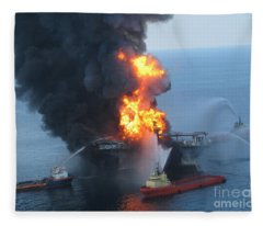 Deepwater Horizon Fire, April 21, 2010 Fleece Blanket