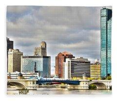 Downtown Toledo Riverfront Fleece Blanket