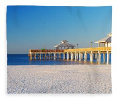 Fort Myers Beach Pier Fleece Blanket