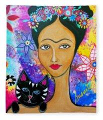 Frida And Her Cat Fleece Blanket