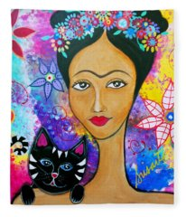 Frida And Her Cat Fleece Blanket