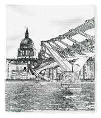 Millenium Bridge And St Pauls Fleece Blanket