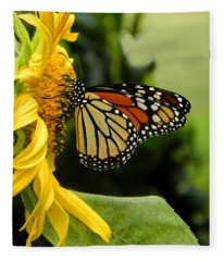 Monarch And The Sunflower Fleece Blanket