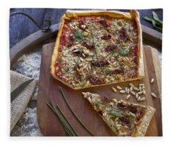 Pizza With Herbs Fleece Blanket