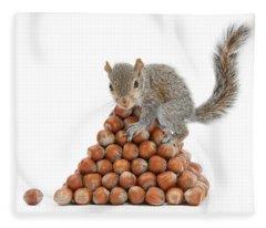 Squirrel And Nut Pyramid Fleece Blanket