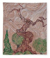 The Earthen Tree Fleece Blanket