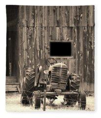 Tractor And The Barn Fleece Blanket