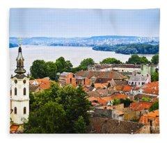 Zemun Rooftops In Belgrade Fleece Blanket