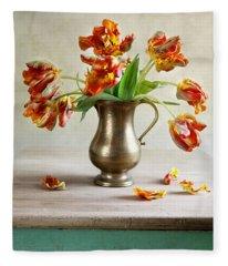 Still Life With Tulips Fleece Blanket