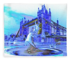 Tower Bridge And The Girl And Dolphin Statue Fleece Blanket
