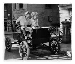 Silent Film: Automobiles Fleece Blanket
