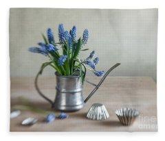 Still Life With Grape Hyacinths Fleece Blanket