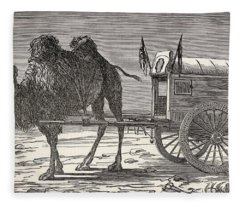 A Camel Pulling A Carriage Fleece Blanket