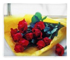 A Dozen Red Roses Fleece Blanket