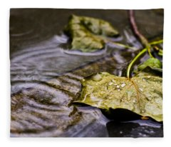 A Leaf In The Rain Fleece Blanket