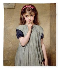 A Young Girl In The Classroom Fleece Blanket