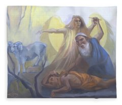 Abraham And Issac Test Of Abraham Fleece Blanket
