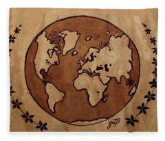 Abstract World Globe Map Coffee Painting Fleece Blanket