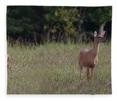 Alert Doe And Fawn Fleece Blanket