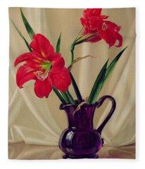 Amaryllis Lillies In A Dark Glass Jug Fleece Blanket