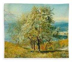 An Alpine Lake Fleece Blanket