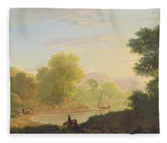 An Imaginary Coast Scene - With The Temple Of Venus At Baiae Fleece Blanket