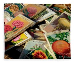 Antique French Seed Packs Fleece Blanket