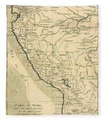 Antique Map Of Peru Fleece Blanket