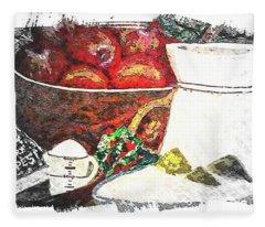 Apple And Rhubarb Pie Fleece Blanket