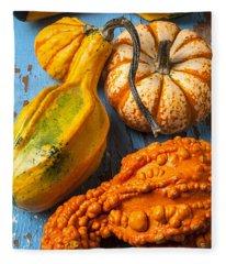 Autumn Gourds Still Life Fleece Blanket