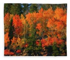 Autumn Water Colors  Fleece Blanket
