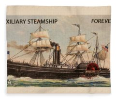 Auxiliary Steamship Stamp Fleece Blanket