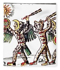 Aztec Warriors, Codex Florentine, 16th Fleece Blanket
