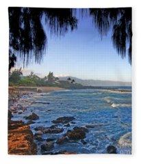 Beach On North Shore Of Oahu Fleece Blanket