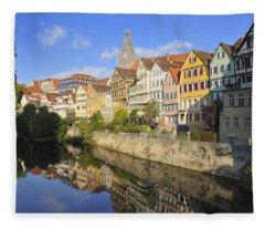 Beautiful German Town Tuebingen - Neckar Waterfront Fleece Blanket